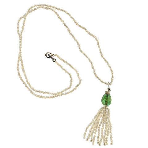 Art Deco Natural Seed Pearl & Emerald Tassel Necklace