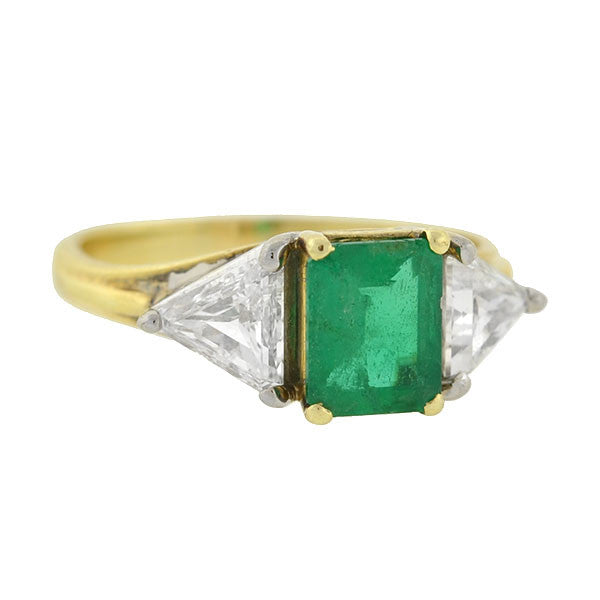Vintage 18kt Emerald & Trillion Cut Diamond Ring .90ct