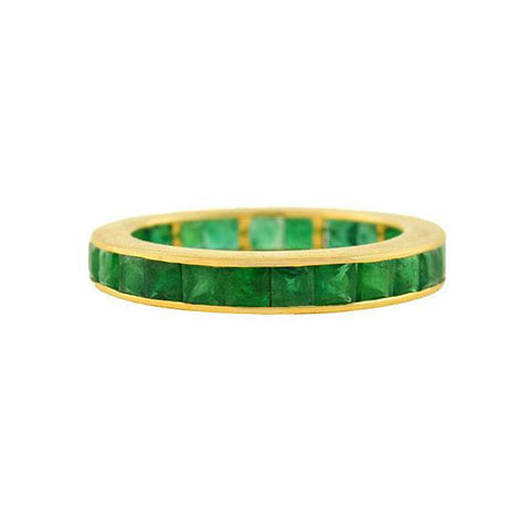 Estate 14kt Square Cut Emerald Eternity Band 2.50ctw