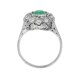 Art Deco Platinum Emerald + Diamond Ring 1ctw center