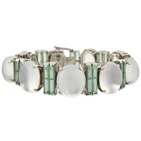 Late Art Deco Sterling/14kt Moonstone + Emerald Link Bracelet