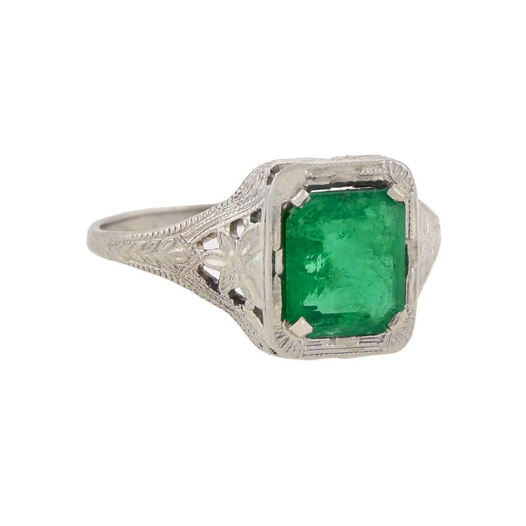 Art Deco 14kt White Gold Emerald Ring 1.37ct