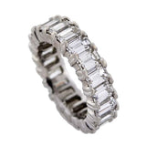 Estate Platinum & Emerald Cut Diamond Eternity Band 6ctw