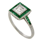 Art Deco Platinum Emerald Step Cut Diamond Engage Ring .85ct