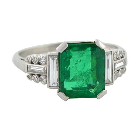 Art Deco Platinum Emerald & Diamond Ring 2.82ct