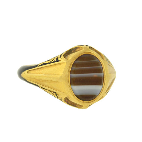 Victorian 18kt Banded Agate & Hidden Compartment Enameled Memorial Ring