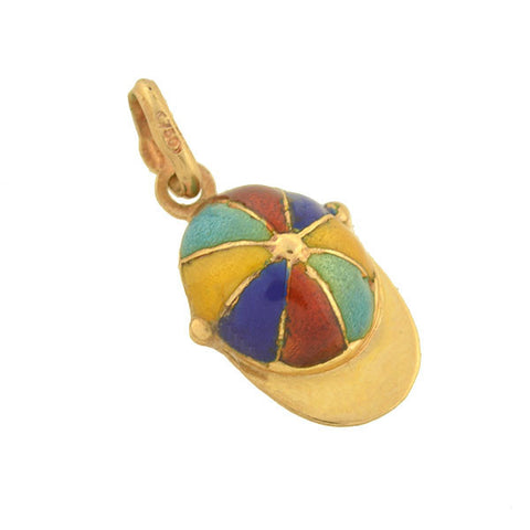 Retro 18kt Rainbow Enamel Boy's Hat Charm