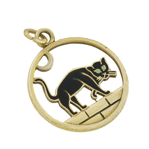 Vintage 10kt Enameled Black Cat Charm