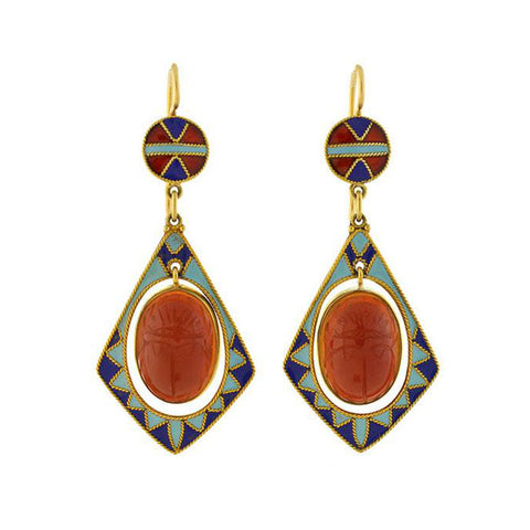 Art Deco 14kt Egyptian Revival Enameled Carved Carnelian Scarab Earrings