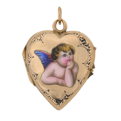 Victorian 14kt & Enameled Cherub Heart Locket