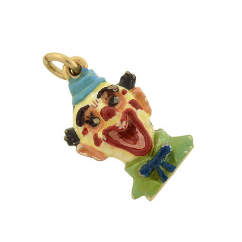 Vintage 14kt Enameled Clown Charm