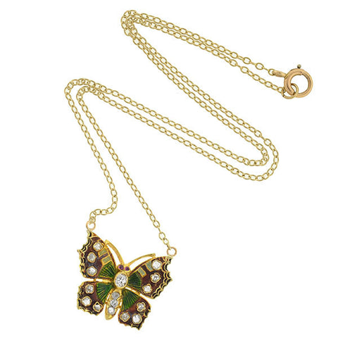 Art Nouveau 14kt Enameled Diamond Butterfly Necklace