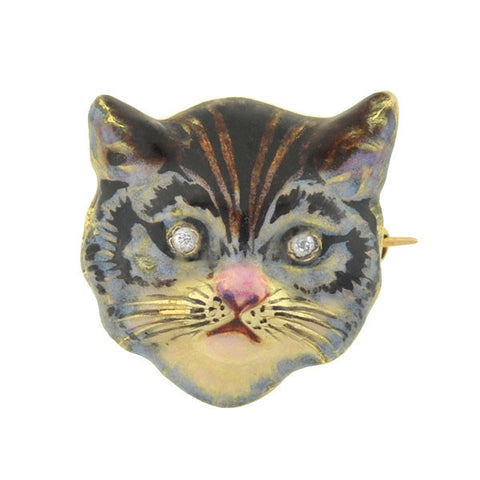 Art Nouveau 14kt Enamel & Diamond Cat Pin