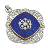 Edwaridan 14kt & Platinum Enamel & Diamond Devil Locket