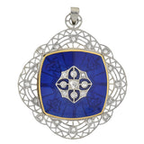 Art Nouveau 14kt & Platinum Enamel & Diamond Devil Locket