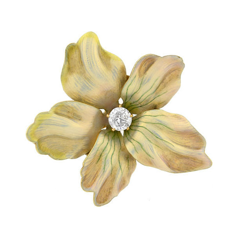 Edwardian 14kt Enamel & Diamond Flower Pin