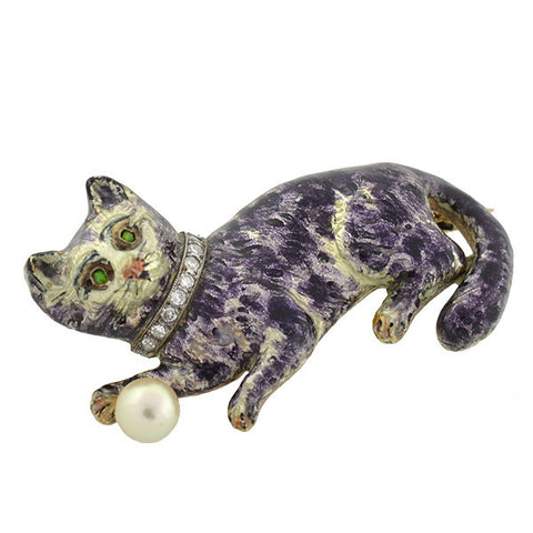 Vintage 14kt Enamel Pearl & Diamond Cat Pin