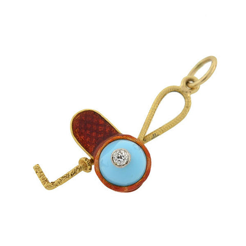 Victorian 18kt Enamel Jockey Cap & Riding Crop Charm