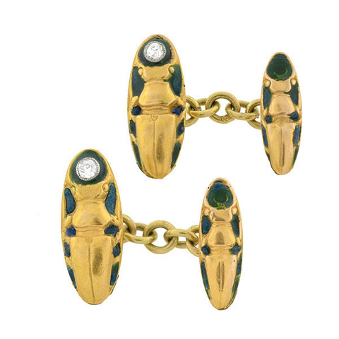 Edwardian 18kt Enamel & Diamond Scarab Cufflinks