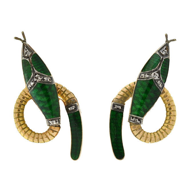 Vintage 18kt Green Enamel & Diamond Snake Clip Earrings