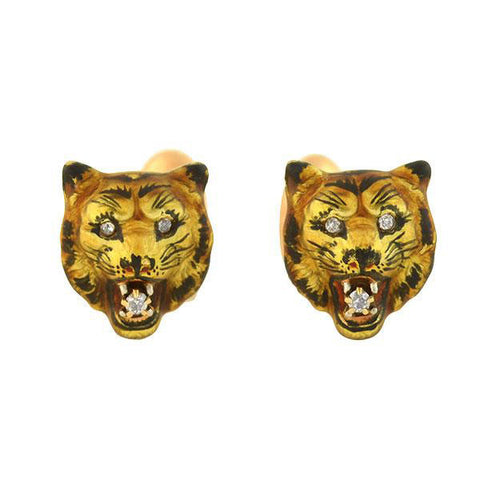 Victorian 14kt Diamond Enameled Tiger Face Cufflinks