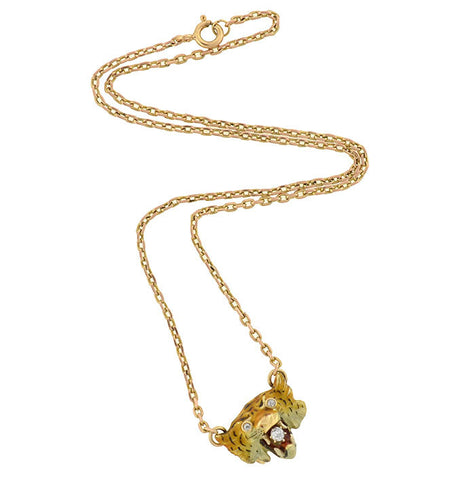 Victorian 14kt Diamond & Enamel Tiger Slide Necklace