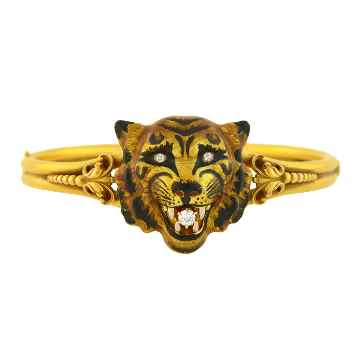 Victorian 18kt Large Enameled Tiger