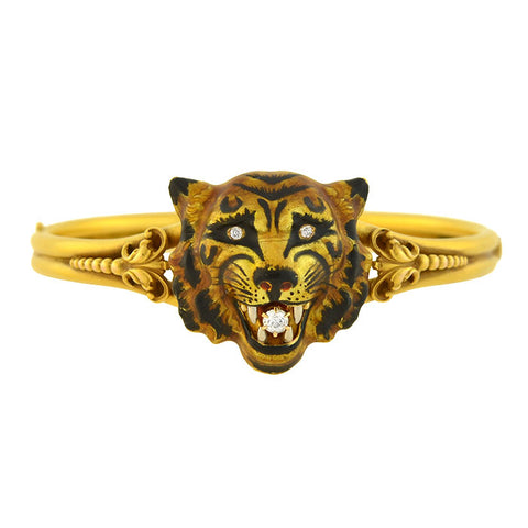 Victorian 18kt Large Enameled Tiger's Face Locket Bangle Bracelet