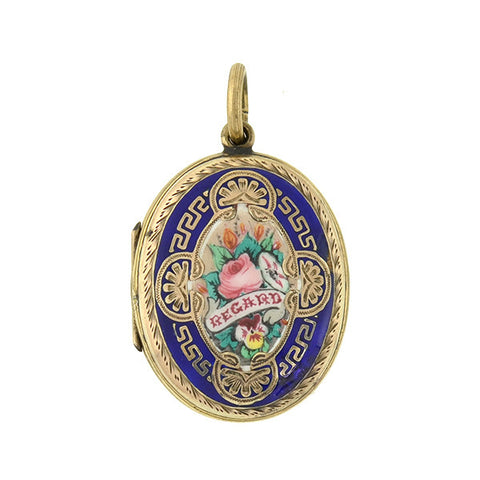 Victorian 14kt Gold Starburst Pearl Locket
