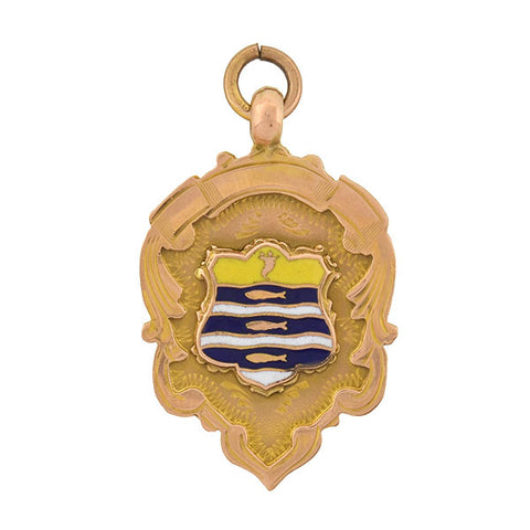 Art Deco English 9kt Enameled Medallion Badge Pendant