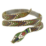 Art Deco German Brass Enameled Flexible Wrap-Around Snake Bracelet