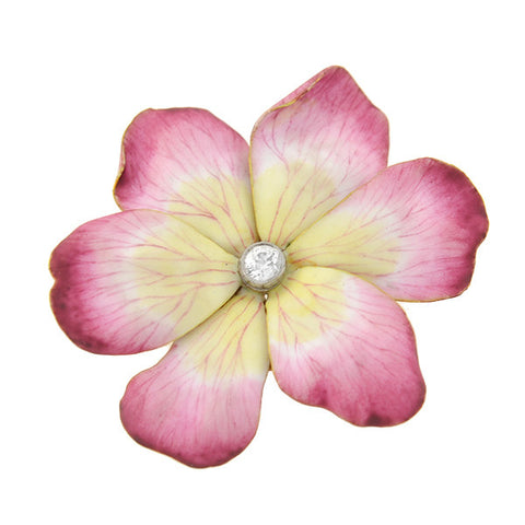 Victorian French 18kt Pink Enamel & Diamond Flower Pin
