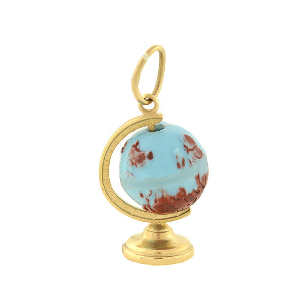Vintage 14kt Painted Moveable Globe Charm