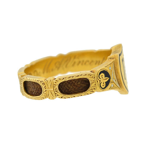 Early Victorian English 18kt Enamel & Woven Hair Mourning Ring