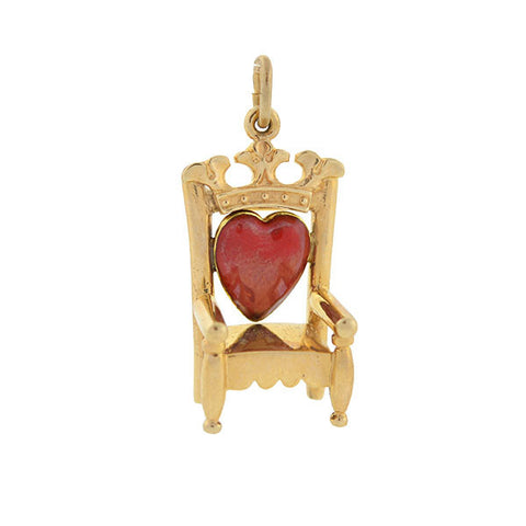 Estate 14kt Gold & Red Enamel Heart Throne Charm