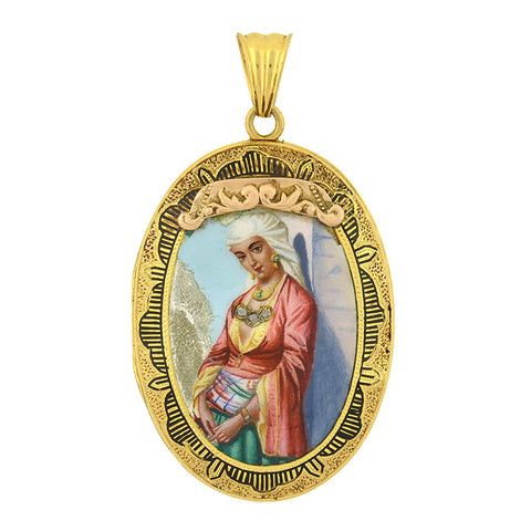 Victorian 14kt Diamond & Tracery Painted Portrait Locket