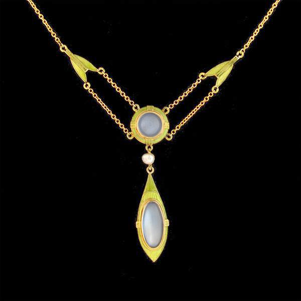 Art Nouveau 14kt Moonstone & Seed Pearl Enameled Lavalier Necklace