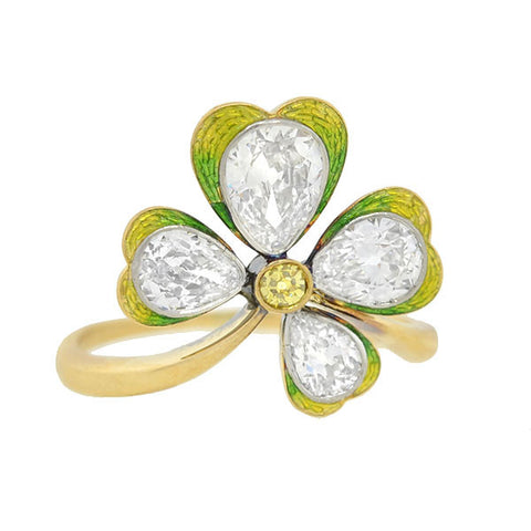 Art Nouveau Diamond Enamel 4-Leaf Clover Ring 2.50ctw