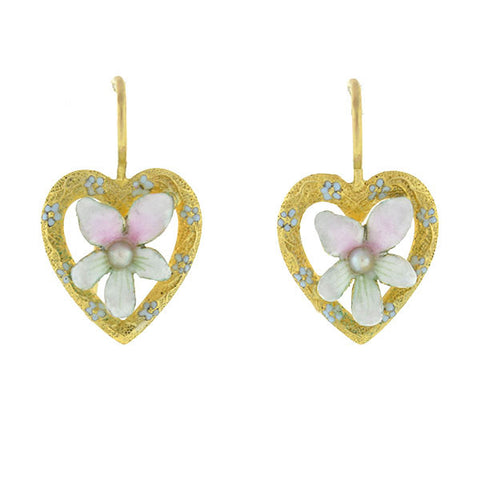 Art Nouveau 14kt Enamel & Pearl Heart and Flower Earrings