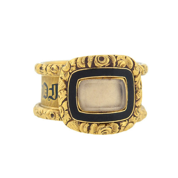 Georgian 18kt Enameled Glass Window Repousse Mourning Ring