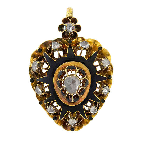Victorian 14kt Rose Cut Diamond Enamel Heart Locket
