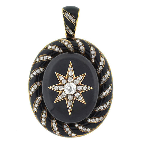 Victorian 15kt Enamel & Rose Cut Diamond Starburst Locket