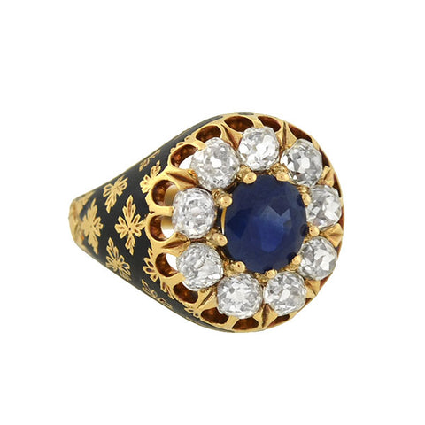 Victorian 18kt Sapphire & Diamond Enameled Cluster Ring 1.25ct center
