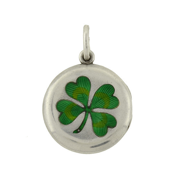 Art Deco Sterling & Enamel Lucky 4-Leaf Clover Shamrock Locket
