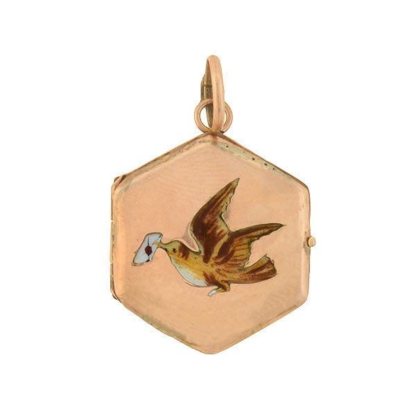 "Victorian 14kt Enameled ""Bird & Love Letter"" Locket"