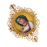 Victorian 18kt & Diamond Painted Portrait Pin/Pendant