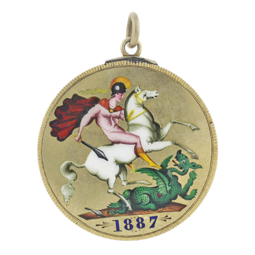 Victorian St. George and the Dragon + Queen Victoria 1887 Jubillee Coin Pendant