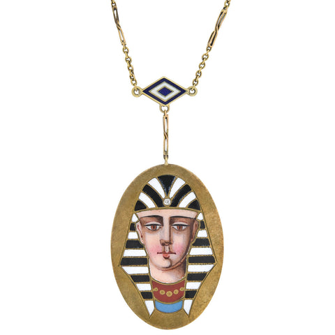 Victorian Egyptian Revival 14kt Enameled Pharaoh Pendant Necklace 18""