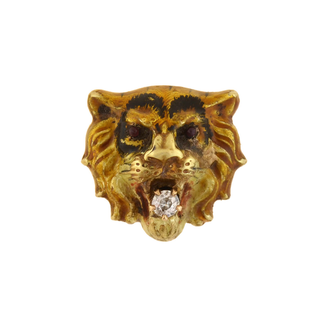 Victorian 15kt Enamel + Diamond Tiger Head Pendant