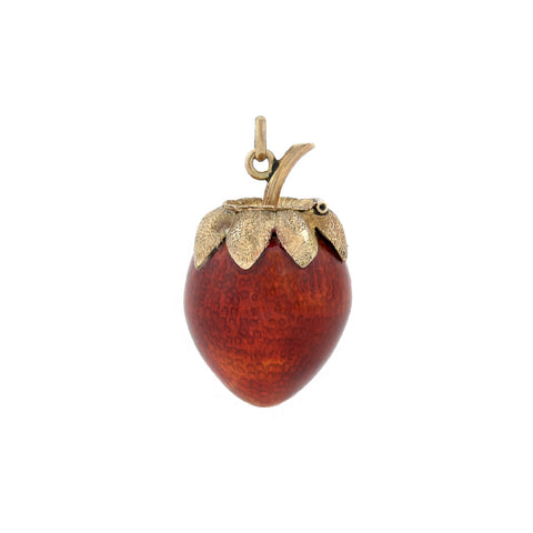 Late Art Deco 14kt Petite Enameled Strawberry Pendant with Hidden Compartment